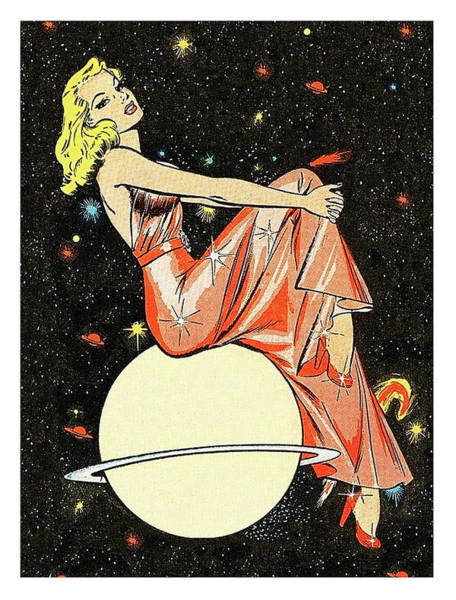 Wall Art - Painting - Blond Woman Sitting On A Planet, Science Fiction Comic Book Cover by Long Shot