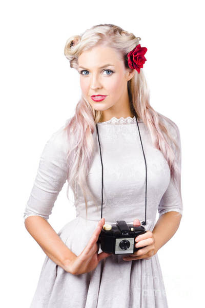 Long Neck Photograph - Blond Woman With Camera by Jorgo Photography - Wall Art Gallery