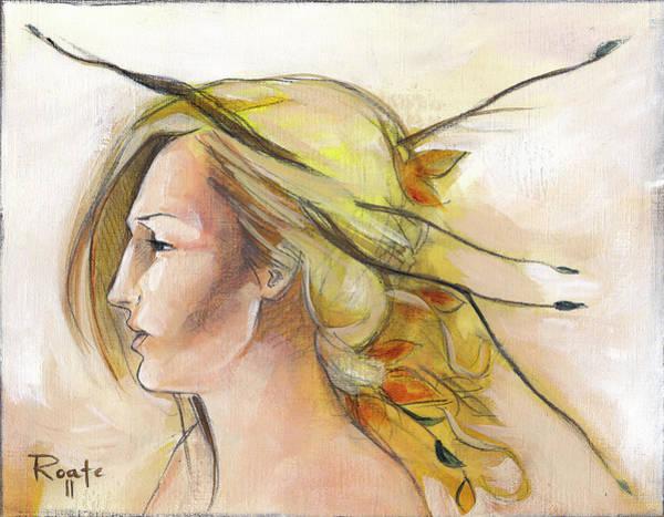 Twig Painting - Blonde Autumn Left by Jacque Hudson