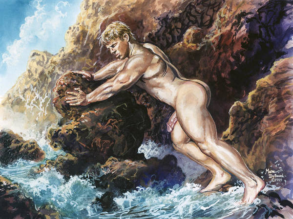 Painting - Blonde On Rocks by Marc  DeBauch