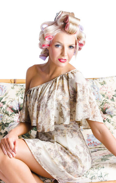 Neckline Photograph - Blonde Woman In Curlers by Jorgo Photography - Wall Art Gallery