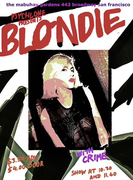 Debbie Harry Wall Art - Mixed Media -  Blondie 1977 Gig Poster  By Enki  by Enki Art
