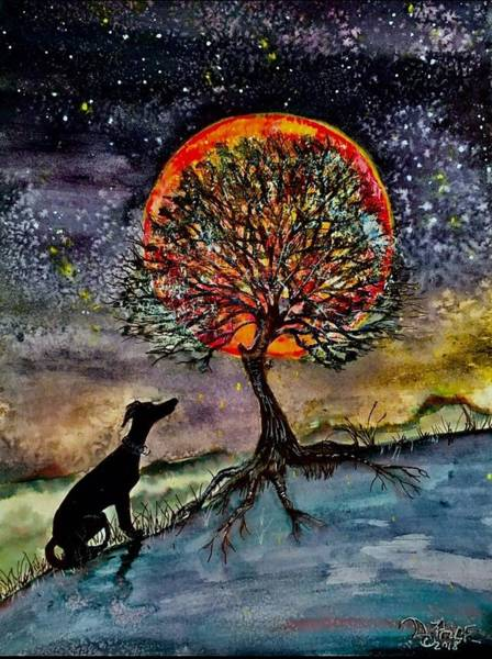 Sighthound Mixed Media - Blood Moon by Donnell Price