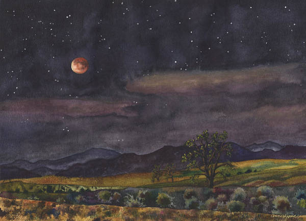 Full Moon Painting - Blood Moon Over Boulder by Anne Gifford