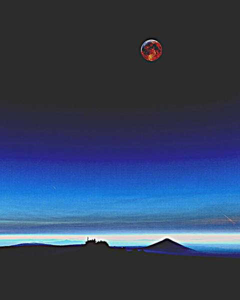 Moon Shadow Painting - Blood Moon Over Mt. Fuji, Japan 2 by Celestial Images