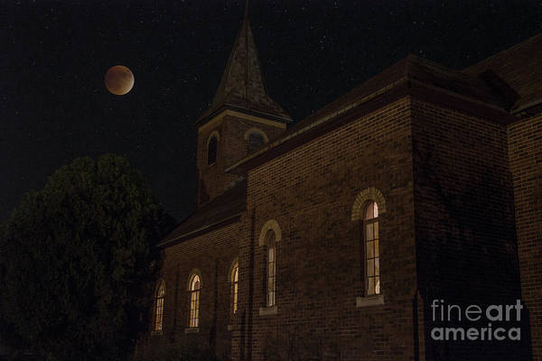 Photograph - Blood Moon Over St. Johns Church by Keith Kapple