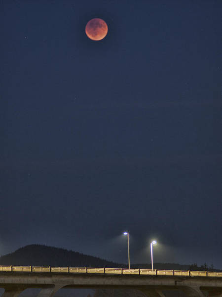 Photograph - Blood Moon Over The Bridge by HW Kateley