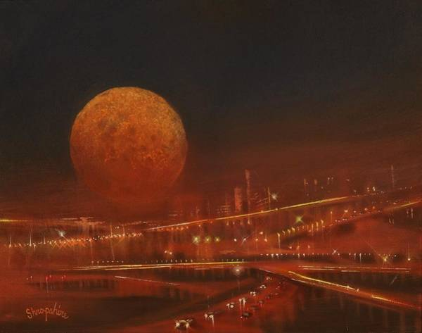 Wall Art - Painting - Blood Moon Over The City by Tom Shropshire