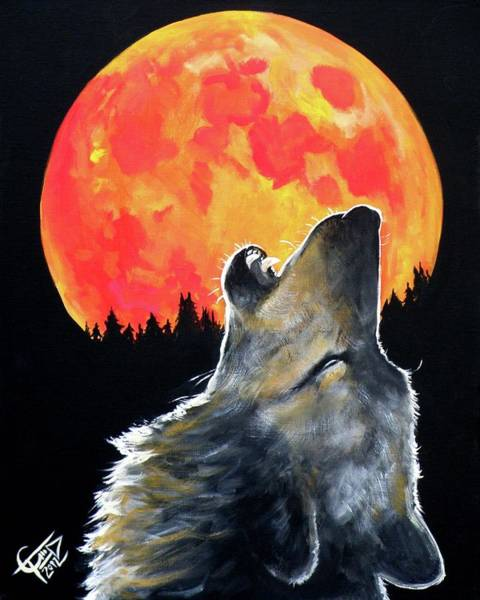 Blood Moon Wall Art - Painting - Blood Moon Wolf by Tom Carlton