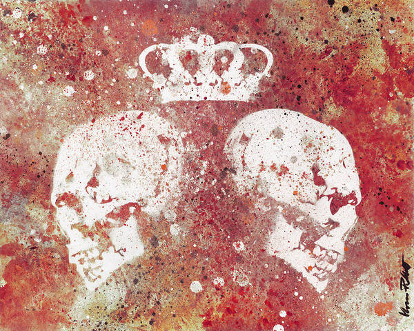 Punk Painting - Blood Queendom - Spray Paint Graffiti Art, Crown With Skulls by Marco Paludet