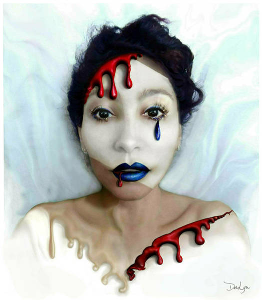Digital Art - Blood Sweat Tears Faced by Doe-Lyn