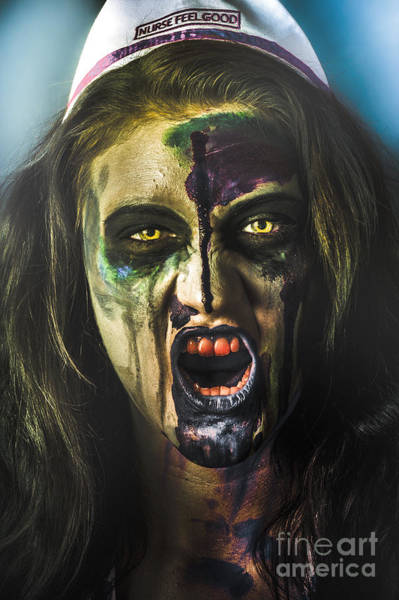 Photograph - Bloody Zombie Nurse Screaming Out In Insanity by Jorgo Photography - Wall Art Gallery