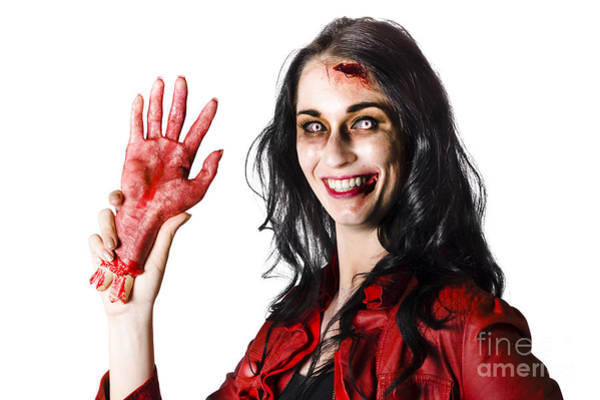 Disgusting Photograph - Bloody Zombie Woman With Severed Hand by Jorgo Photography - Wall Art Gallery