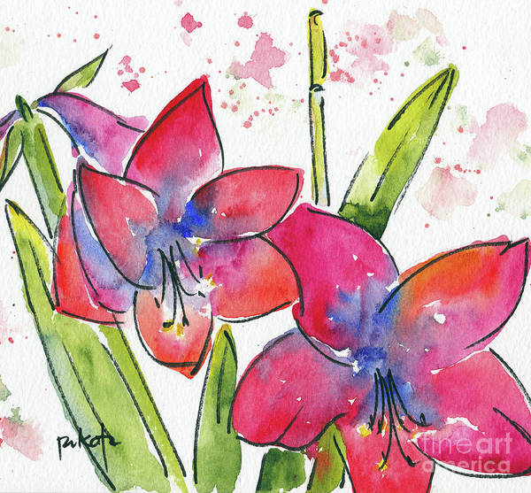 Painting - Blooming Amaryllis by Pat Katz