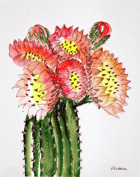 Painting - Blooming Cactus by Ekaterina Chernova