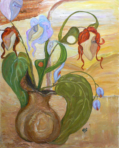 Painting - Blooming Orchids In The Vase by Mila Ryk