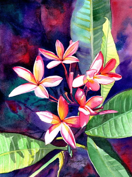 Painting - Blooming Plumeria 4 by Marionette Taboniar