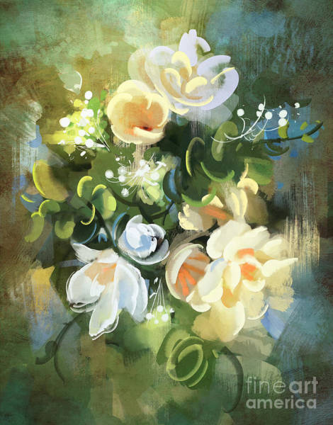Art Print featuring the painting Blooming by Tithi Luadthong