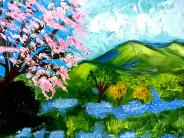 Painting - Blossom And Bluebells by Rusty Gladdish