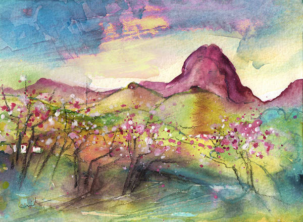 Benidorm Wall Art - Painting - Blossoming Almond Trees In The Spanish Sierra by Miki De Goodaboom