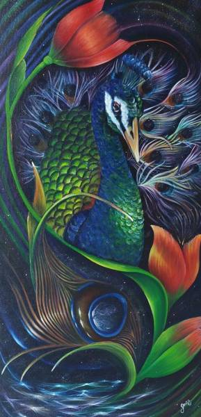 Tulipan Painting - Blossoming Peacock by Jessica Venzor