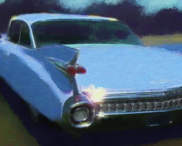 Digital Art - Blue 1959 Cadillac Tailfin by David King