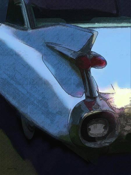 Digital Art - Blue 1959 Cadillac Tailfin Pop by David King