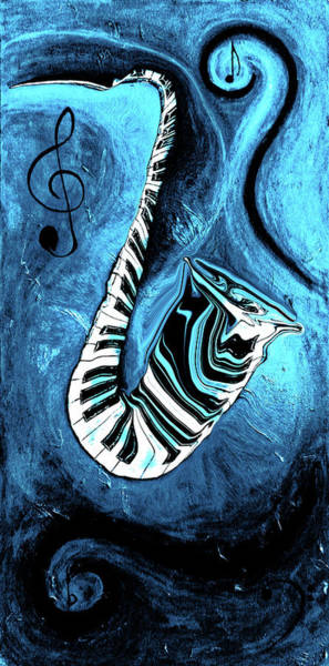 Hallway Mixed Media - Piano Keys In A Saxophone Blue 2 - Music In Motion by Wayne Cantrell