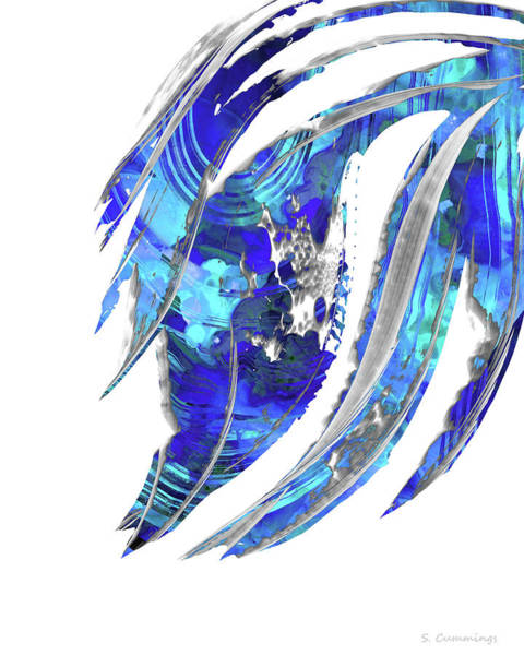 Blue Wave Painting - Blue Abstract Art - Flowing 2 - Sharon Cummings by Sharon Cummings