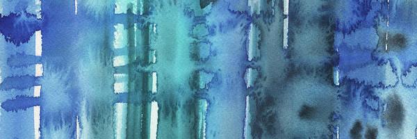 Coast Line Painting - Blue Abstract Cool Waters Iv by Irina Sztukowski