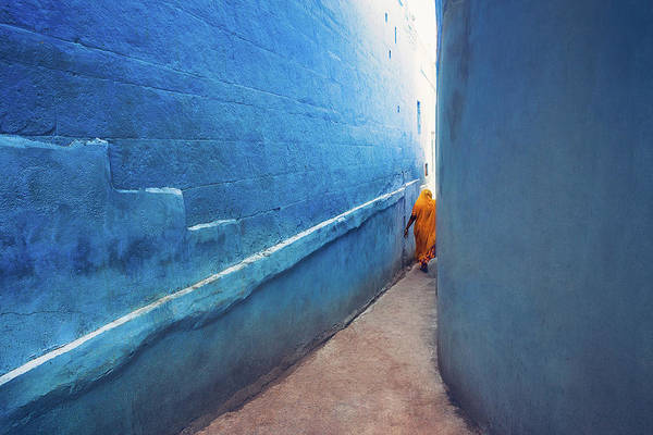 Photograph - Blue Alleyway by Marji Lang