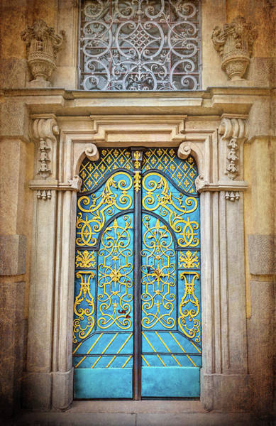 Wall Art - Photograph - Blue And Gold Door University Of Wroclaw Poland  by Carol Japp