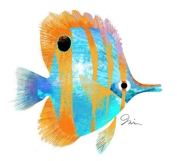 Sea Life Digital Art - Blue And Gold Fish by Trevor Irvin