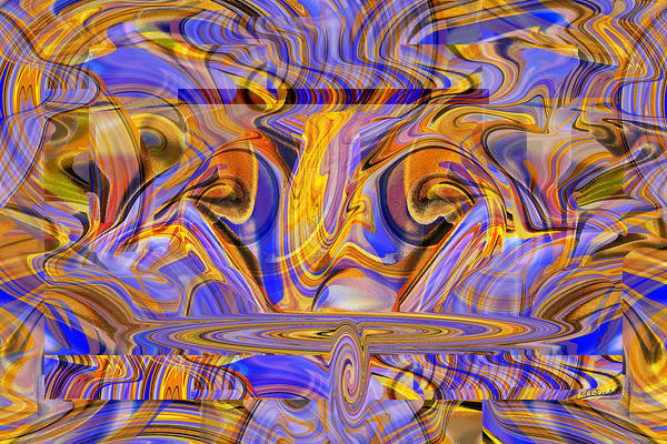 Digital Art - Blue And Gold Future by rd Erickson