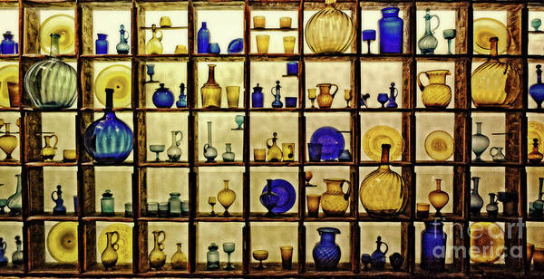 Wall Art - Photograph - Blue And Gold Glassware by Mary Machare