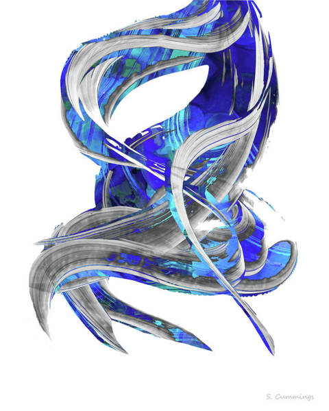 Sharp Painting - Blue And Gray Art - Flowing 3 - Sharon Cummings by Sharon Cummings