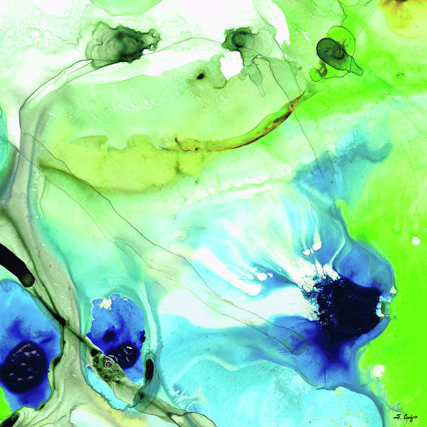 Painting - Blue And Green Abstract - Land And Sea - Sharon Cummings by Sharon Cummings