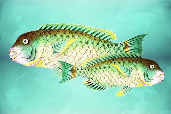 Mixed Media - Blue And Green Fish Wall Art by Isabella Howard