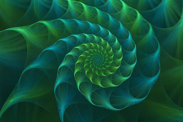 Wall Art - Digital Art - Blue And Green Nautilus Shell by Anna Bliokh