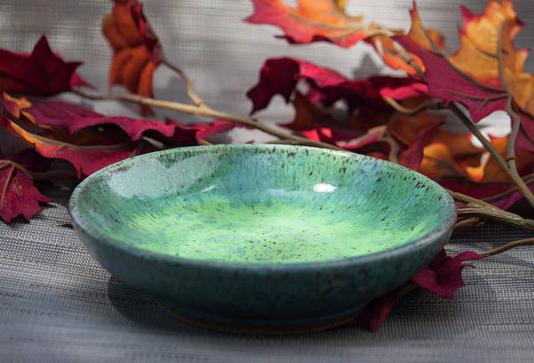 Stoneware Wall Art - Ceramic Art - Blue And Green Shallow Bowl by Suzanne Gaff