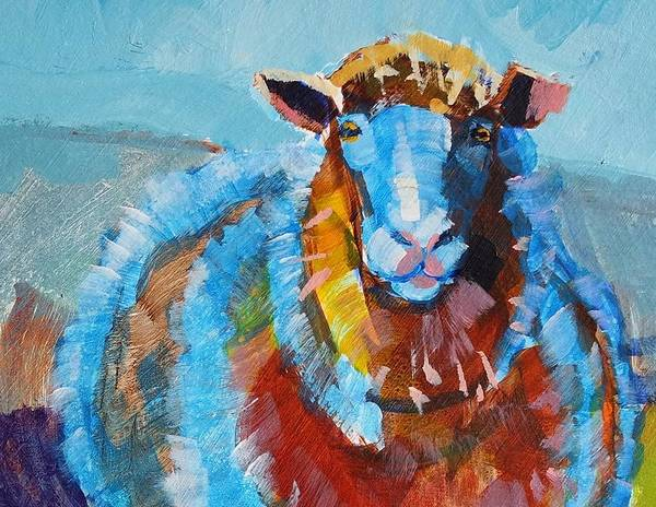 Painting - Blue And Orange Sheep by Mike Jory