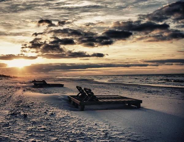 Alabama Painting - Blue And Orange Sunrise On The Beach by Michael Thomas