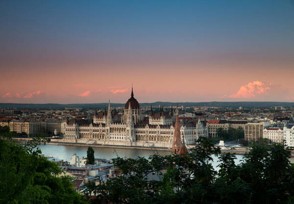 Buda Photograph - Blue And Pink Sunset From Castle Hill With The Budapest Parliament Building And Danube River by Bridget Calip