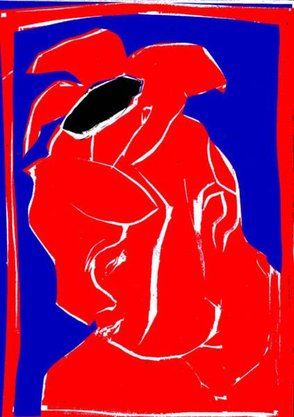 Digital Art - Blue And Red Series - Flower Hat by Artist Dot