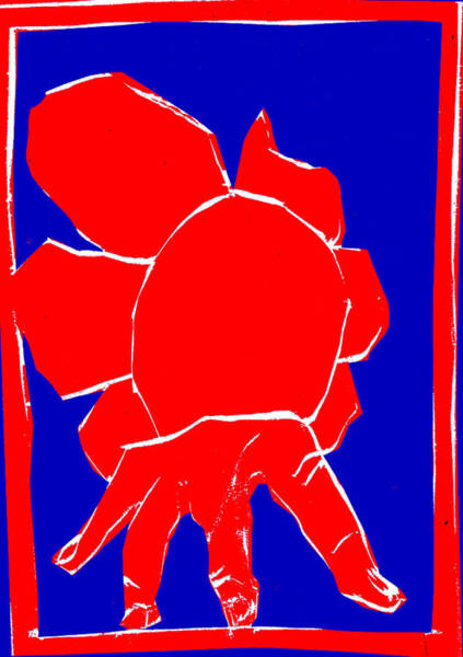 Digital Art - Blue And Red Series - Hand And Flower by Artist Dot