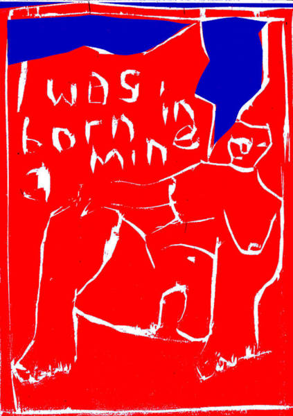 Digital Art - Blue And Red Series - I Was Born In A Mine by Artist Dot