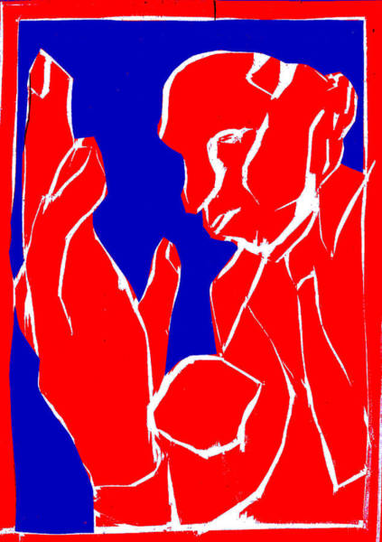 Digital Art - Blue And Red Series - Man And Hand by Artist Dot