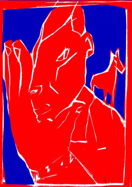 Digital Art - Blue And Red Series - Man Leaves Horse by Artist Dot