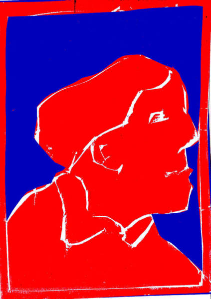 Digital Art - Blue And Red Series - Passing Woman by Artist Dot