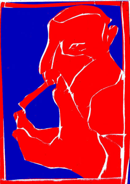 Digital Art - Blue And Red Series - Smoker Smoking At Hand by Artist Dot
